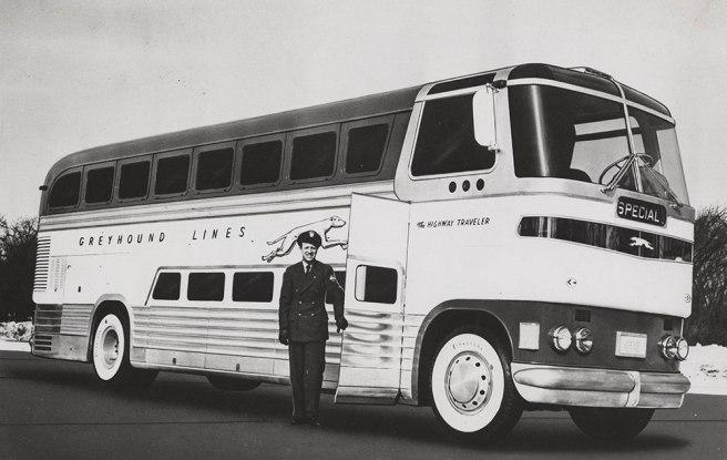 1940s era Greyhoud passenger bus